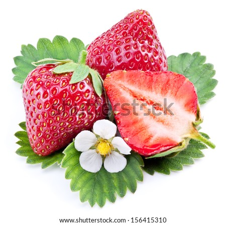 One rich strawberry fruit isolated on a white background.
