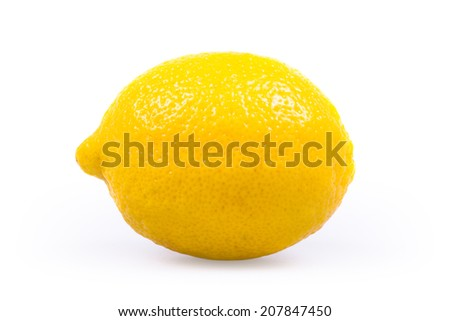 One Ripe Lemon On White Background - stock photo