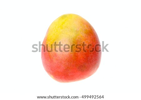 One ripe mango isolated on white background