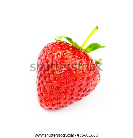 One ripe, organic strawberry isolated on white background - stock photo