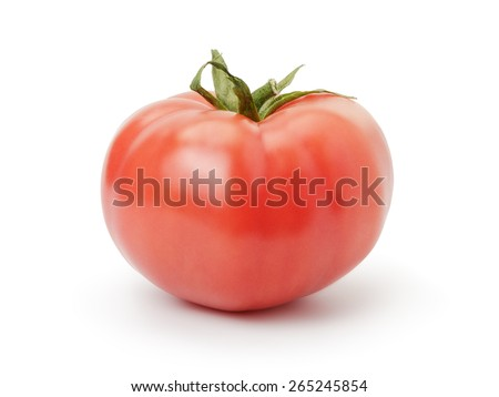 one ripe red tomato isolated on white - stock photo