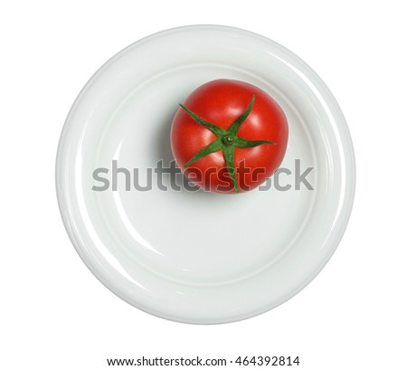 One ripe tomatoes in plate isolated on white background, top view
