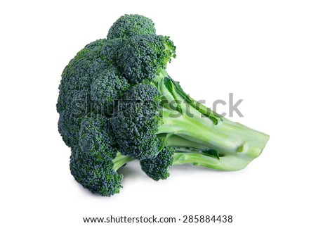 one ripe vegetable broccoli isolated on a white background - stock photo