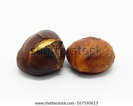 One roasted chestnut with excluded seed on white background - isolated