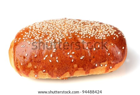 One roll bread isolated on white