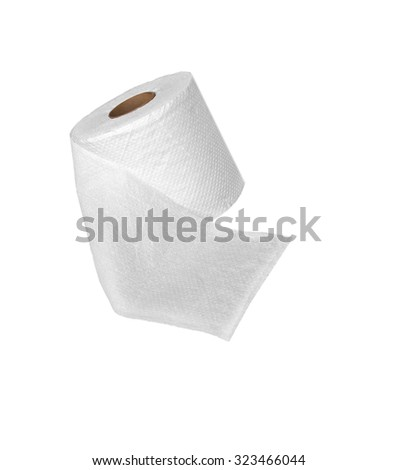 one roll of soft toilet paper isolated on white - stock photo