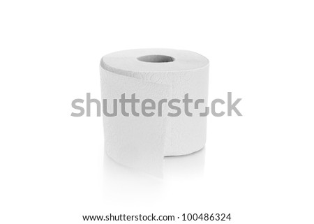 one roll of toilett paper isolated - stock photo