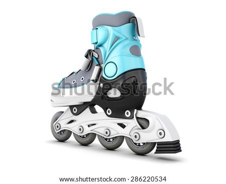 One roller skate isolated on white background. 3d illustration. - stock photo
