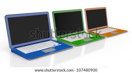 one row of three notebooks in different colors (3d render) - stock photo