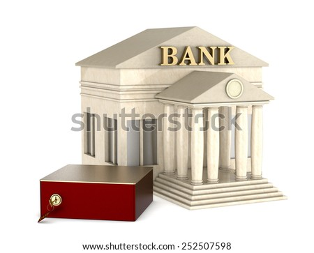 one safe box with a bank building on white background (3d render)
