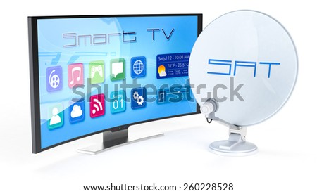 one satellite dish with a smart tv (3d render) - stock photo