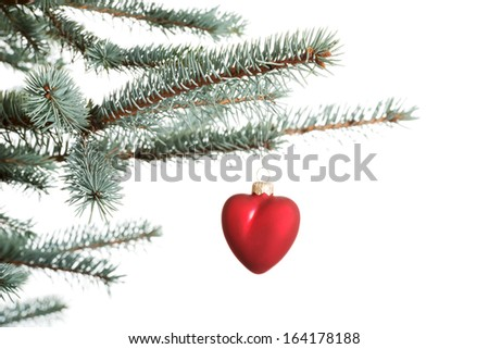 One separate christmas ball hanging on a fir. Isolated on white.  - stock photo