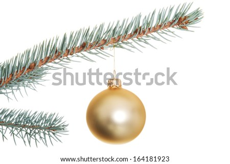 One separate Christmas ball on christmas tree. isolated on white.