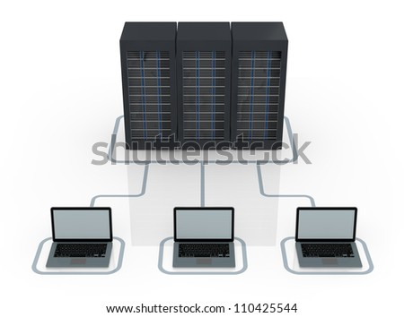 one server rack connected to electronic devices (3d render) - stock photo
