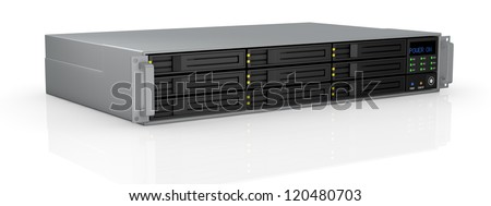 one server rack with nine hd slots, powered on (3d render)