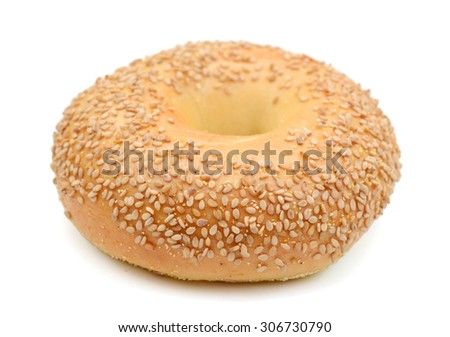 one sesame bagel isolated on white  - stock photo