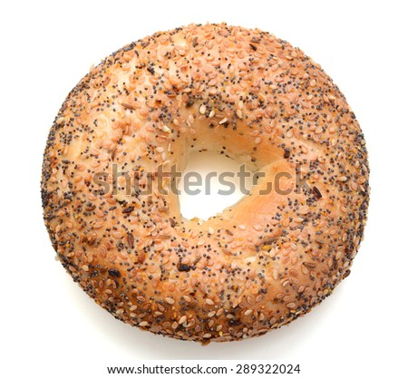 one sesame bagel on white background  - stock photo