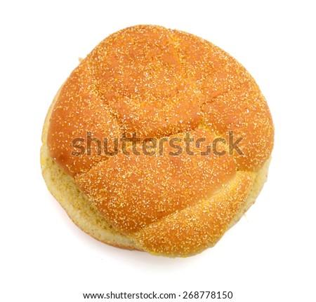 one sesame bun on white background  - stock photo