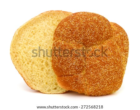 one sesame sandwich bun isolated on white  - stock photo