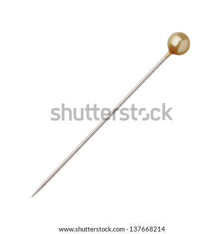 One sewing push pin isolated on white background - stock photo