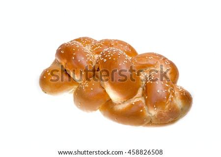 One shabbat challah isolated on white background - stock photo