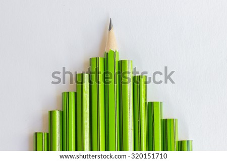 one sharp pencil with all another not sharp pencil  - stock photo