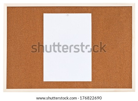 one sheet of paper on bulletin cork board isolated on white background - stock photo