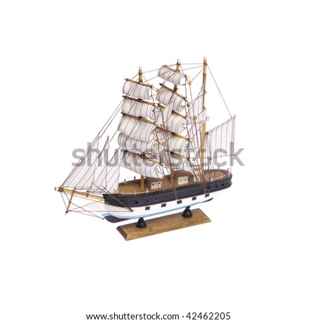 One ship figurine on white isolated
