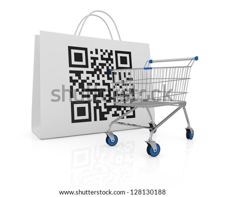 one shopping bag with a qr code printed on a side and a shopping cart (3d render) - stock photo