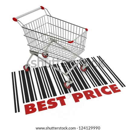 one shopping cart with text: best price (3d render) - stock photo