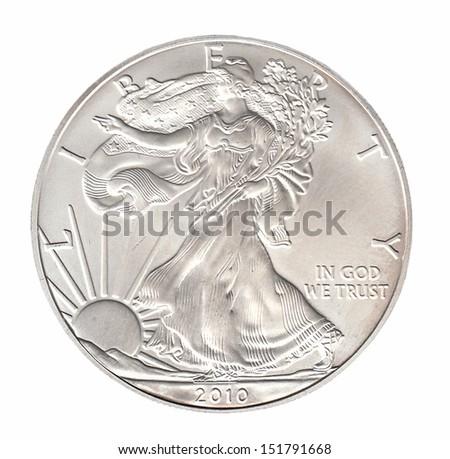 One silver dollar isolated on whiteround - stock photo