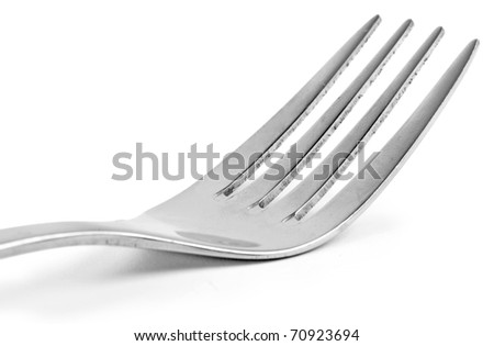 One silver fork isolated on white background - stock photo