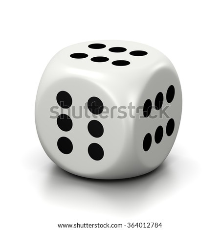 One Single All Six Numbered Faces White Dice on White Background 3D Illustration - stock photo