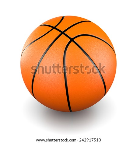 One Single Basketball 3D Illustration on White Background Studio - stock photo
