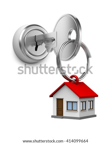 One Single Metal Key with Key Rings in the Shape of a House Inserted in a Door Lock on White Background 3D Illustration - stock photo