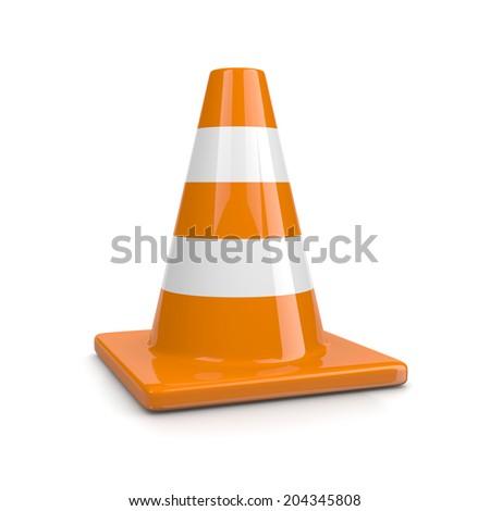 One Single Orange Traffic Cone Isolated on White Background Illustration - stock photo