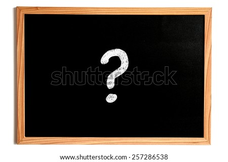 One Single Question Mark Chalk Text on Chalkboard with Wooden Frame Isolated on White - stock photo