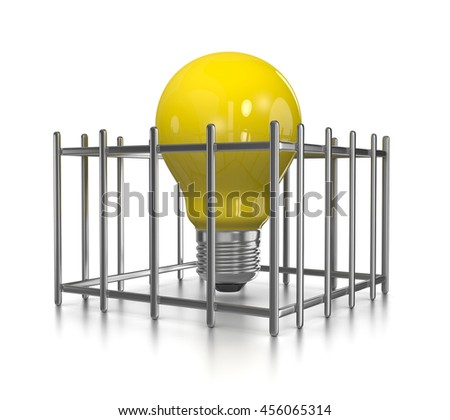One Single Yellow Light Bulb in a Cage on White Background 3D Illustration - stock photo