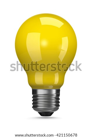 One Single Yellow Light Bulb on White Background 3D Illustration - stock photo