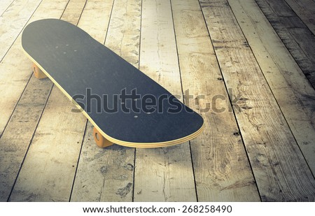 one skateboard on a wooden floor (3d render) - stock photo