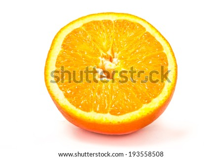 one slice of big orange isolated on white