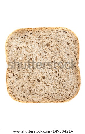 one slice of bread on white background