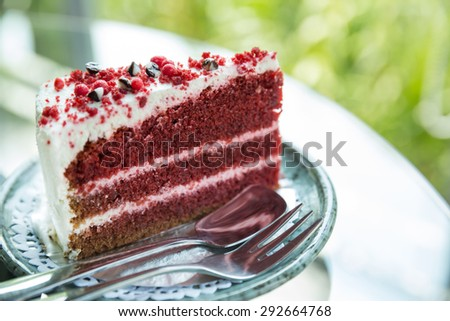 one slice of red velvet cake, velvet red cake - stock photo