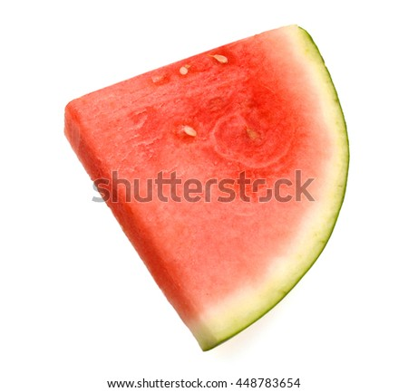 one slice of watermelon, close up macro isolated on white