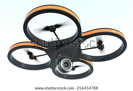one small drone with a camera, on white background, also concept of privacy (3d render) - stock photo