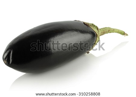 One small eggplant on a white background.