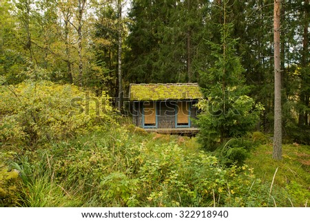 One small wooden building surrounded by forest and vegetation in Sweden - stock photo