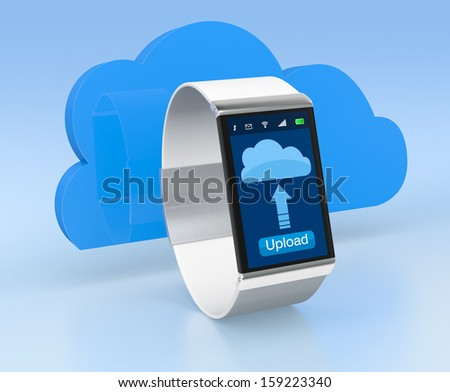 one smart watch with a cloud, concept of cloud computing (3d render)