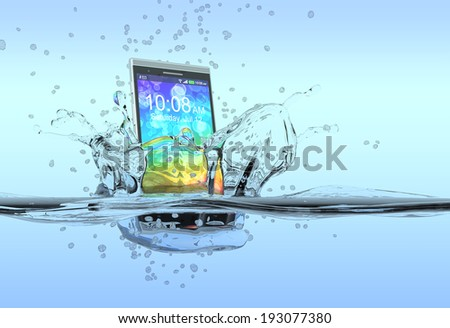 one smartphone that falls in the water with splashes around it, concept of waterproof product (3d render) - stock photo
