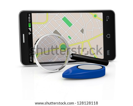 one smartphone with a gps map, a pointer and a  magnifying glass (3d render)